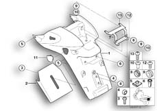 Goto diagram: BMW Classic Motorrad Modell R 1150 R 01 (0429,0439)( USA ), Category 46.62 Registration plate mounting :: Diagram: 46_0696