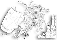 Goto diagram: BMW Classic Motorbike Model K 1200 RS 01 (0547,0557)( ECE ), Category 46.63 Windshield, adjustable/mounting parts :: Diagram: 46_0715