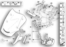 Goto diagram: BMW Classic Motorbike Model K 1200 GT 01 (0548,0558)( USA ), Category 46.63 Windshield adjustment, electr. :: Diagram: 46_0814
