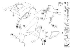 Goto diagram: BMW Classic Motorbike Model R 1200 GS 04 (0307,0317)( ECE ), Category 46.63 Trim panel parts - mounting parts :: Diagram: 46_0841