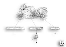 Goto diagram: BMW Classic Motorbike Model K 1200 S (0581,0591)( ECE ), Category 46.75 Stick-on label 968 :: Diagram: 46_0899