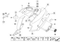 Goto diagram: BMW Classic Motorrad Modell HP2 Enduro (0369,0389)( ECE ), Category 46.63 Fairing side section / Center part :: Diagram: 46_0989