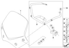 Goto diagram: BMW Classic Motorbike Model R 1200 R 06 (0378,0398)( USA ), Category 46.63 Sport windscreen :: Diagram: 46_1067