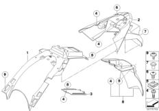Goto diagram: BMW Classic Motorrad Modell F 700 GS 17 (0B26)( BRA ), Category 46.62 Wheel cover, number-plate carrier :: Diagram: 46_1112