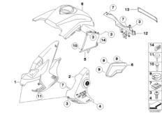 Goto diagram: BMW Classic Motorrad Modell R 1200 GS 10 (0450,0460)( USA ), Category 46.63 Trim panel parts - mounting parts :: Diagram: 46_1139