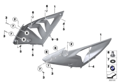 Goto diagram: BMW Classic Motorrad Modell HP4 (0D01, 0D11)( ECE ), Category 46.63 Fairing side section, front :: Diagram: 46_1235
