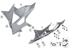 Goto diagram: BMW Classic Motorbike Model S 1000 RR 10 (0507,0517)( ECE ), Category 46.63 Engine spoiler :: Diagram: 46_1242