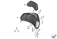 Goto diagram: BMW Classic Motorbike Model K 1600 GTL 17 (0F02, 0F12)( USA ), Category 46.63 Backrest pad with backrest :: Diagram: 46_1360