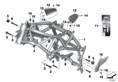Goto diagram: BMW Classic Motorrad Modell F 800 GS Adve. (0B05, 0B15)( ECE ), Category 46.51 Front frame :: Diagram: 46_1448