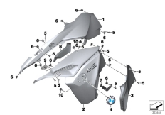 Goto diagram: BMW Classic Motorrad Modell F 800 GS Adve. (0B05, 0B15)( ECE ), Category 46.63 Fairing side section, front :: Diagram: 46_1544