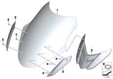 Goto diagram: BMW Classic Motorrad Modell R 1200 RT (0A03, 0A13)( USA ), Category 46.63 Windshield / mounting :: Diagram: 46_1604