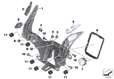 Goto diagram: BMW Classic Motorbike Model S 1000 RR 17 (0D50, 0D60)( ECE ), Category 46.63 Front panel carrier :: Diagram: 46_1622