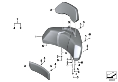 Goto diagram: BMW Classic Motorbike Model K 1600 GTL Excl. (0603, 0613)( USA ), Category 46.54 Backrest pad with backrest :: Diagram: 46_1663
