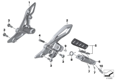 Goto diagram: BMW Classic Motorrad Modell R 1200 R (0A04, 0A14)( ECE ), Category 46.71 Footrest, front :: Diagram: 46_1696