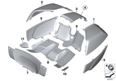 Goto diagram: BMW Classic Motorrad Modell K 1600 Bagger (0F51, 0F53)( USA ), Category 46.54 Primed parts for topcase :: Diagram: 46_2029