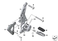 Goto diagram: BMW Classic Motorbike Model F 850 GS (0B29)( BRA ), Category 46.71 Footrest plate/footrest front right :: Diagram: 46_2041