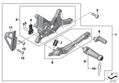 Goto diagram: BMW Classic Motorrad Modell R nineT Racer (0J21, 0J23)( USA ), Category 46.71 Footrest system, right :: Diagram: 46_2064
