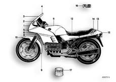 Goto diagram: BMW Classic Motorbike Model K 100 RS 83 (0502,0503,0513)( ECE ), Category 51.20 PAINTED PARTS 621 PERLMUTT :: Diagram: 51_0017