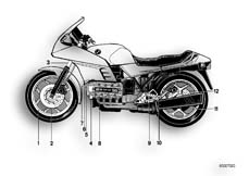 Goto diagram: BMW Classic Motorbike Model K 100 RS 83 (0502,0503,0513)( ECE ), Category 51.20 PAINTED PARTS 621 PERLMUTT :: Diagram: 51_0019