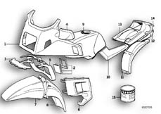 Goto diagram: BMW Classic Motorbike Model K 75 RT (0565,0573)( USA ), Category 51.20 PAINTED PARTS 690 SEIDENBLAU :: Diagram: 51_0099