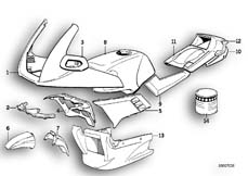 Goto diagram: BMW Classic Motorbike Model K 100 RS (0523,0533)( USA ), Category 51.20 PAINTED PARTS 661 PERLSILBER :: Diagram: 51_0107
