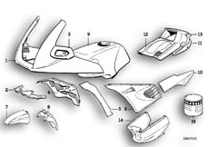 Goto diagram: BMW Classic Motorrad Modell K 1100 RS (0522,0532)( USA ), Category 51.20 Painted parts 706 palmettogrün :: Diagram: 51_0153