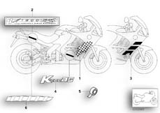 Goto diagram: BMW Classic Motorbike Model K 1200 RS 97 (0544,0554)( ECE ), Category 51.05 Sticker :: Diagram: 51_0207