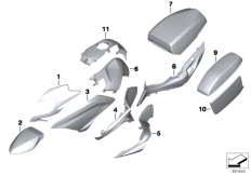 Goto diagram: BMW Classic Motorrad Modell R 1200 RT (0A03, 0A13)( USA ), Category 51.20 Painted parts WN99 glacier-silber met. :: Diagram: 51_1545