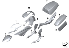 Goto diagram: BMW Classic Motorrad Modell R 1200 RT (0A03, 0A13)( USA ), Category 51.20 Painted parts U757 blanco :: Diagram: 51_1908