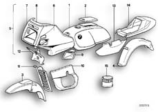 Goto diagram: BMW Classic Motorrad Modell R 100 RT( USA ), Category 51.20 PAINTED PARTS 667 STRATOSGRAU :: Diagram: 51_2672
