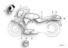 Goto diagram: BMW Classic Motorbike Model K 75 C (0564,0574)( ECE ), Category 51.20 PAINTED PARTS 562 COLUMBIASILBER :: Diagram: 51_2696