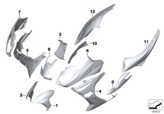 Goto diagram: BMW Classic Motorrad Modell C 650 Sport 16 (0C04, 0C14)( USA ), Category 51.20 Painted parts YNB5 light-white solid :: Diagram: 51_3778