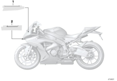 Goto diagram: BMW Classic Motorbike Model S 1000 RR 17 (0D50, 0D60)( ECE ), Category 51.14 Label, fairing top section :: Diagram: 51_4108