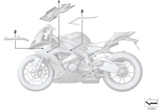 Goto diagram: BMW Classic Motorbike Model S 1000 RR 17 (0D50, 0D60)( ECE ), Category 51.14 Label, fairing side section :: Diagram: 51_4109