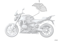 Goto diagram: BMW Classic Motorrad Modell R 1200 R (0A04, 0A14)( ECE ), Category 51.14 Stick-on label :: Diagram: 51_4389