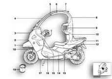 Goto diagram: BMW Classic Motorrad Modell C1 (0191)( ECE ), Category 51.20 Painted parts 815 ginster-gelb/silber :: Diagram: 51_4474