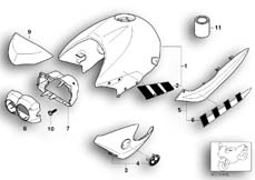 Goto diagram: BMW Classic Motorrad Modell R 1150 R Rockster (0308,0318)( ECE ), Category 51.20 Painted Parts 935 alpinweiss/saphirsw :: Diagram: 51_5144