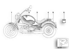 Goto diagram: BMW Classic Motorbike Model R 1200 Montauk 03 (0309,0319)( USA ), Category 51.20 Painted parts 922 Piemontrot/Titansi. :: Diagram: 51_5285