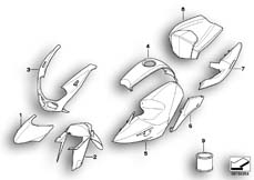 Goto diagram: BMW Classic Motorrad Modell R 1200 S (0366,0396)( ECE ), Category 51.20 Painted parts WN04 titansilb./magmarot :: Diagram: 51_6080