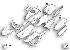 Goto diagram: BMW Classic Motorrad Modell R 900 RT 05 SF (0367,0387)( ECE ), Category 51.20 Painted parts 753 alpin-weiss/black :: Diagram: 51_6598