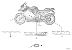 Goto diagram: BMW Classic Motorbike Model K 1200 S (0581,0591)( ECE ), Category 51.14 Stick-on label 968 :: Diagram: 51_9819