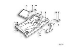 Goto diagram: BMW Classic Motorbike Model K 100 RS 83 (0502,0503,0513)( ECE ), Category 52.10 TAIL PART UPPER :: Diagram: 52S1016