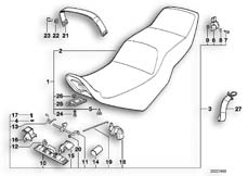 Goto diagram: BMW Classic Motorbike Model K 100 RS 83 (0502,0503,0513)( ECE ), Category 52.05 SLIDING DUAL SEAT :: Diagram: 52S1020