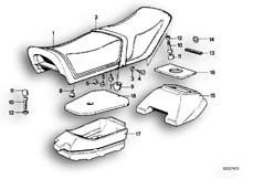 Goto diagram: BMW Classic Motorbike Model R65( USA ), Category 52.05 Seat bench :: Diagram: 52_0984