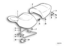 Goto diagram: BMW Classic Motorbike Model R 1100 RS 93 (0411,0416)( ECE ), Category 52.53 Adjustable seat bench :: Diagram: 52_1031