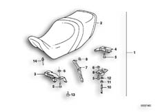Goto diagram: BMW Classic Motorbike Model K 1100 LT (0526, 0536)( ECE ), Category 52.53 SADDLE DUAL SEAT :: Diagram: 52_1035