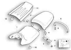 Goto diagram: BMW Classic Motorrad Modell R 1150 R 01 (0429,0439)( USA ), Category 52.53 Seat bench and mounting parts :: Diagram: 52_2818
