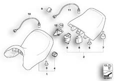 Goto diagram: BMW Classic Motorbike Model R 900 RT 05 SF (0367,0387)( ECE ), Category 52.53 Seat bench :: Diagram: 52_3214