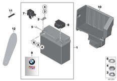 Goto diagram: BMW Classic Motorbike Model R 900 RT 05 SF (0367,0387)( ECE ), Category 61.21 Auxiliary battery, special vehicle :: Diagram: 61_5437