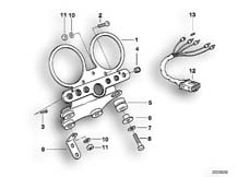 Goto diagram: BMW Classic Motorbike Model R 100 R Mystik 94( USA ), Category 62.05 Dashboard support :: Diagram: 62_0257